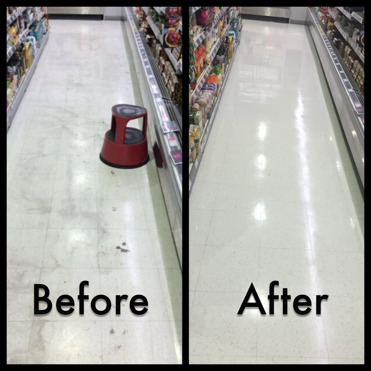 Retail Floor Cleaning & Restoration, before and after picture