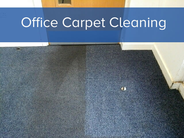 A half and half office carpet cleaning job in progress