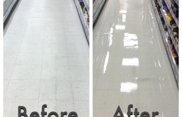 Vinyl floor cleaning before and after