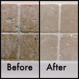Before and after pictures showing transformative cleaning of tiles and grout.