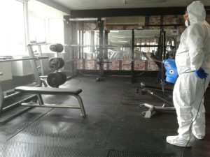 Fogging throughout a gymm area