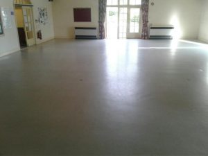 Before our team commenced work the floor is dull and looks worn