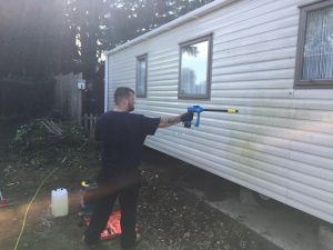 Our team apply Soft-Washing techniques to cleaning a caravan