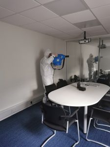 Photos of our team fogging our offices