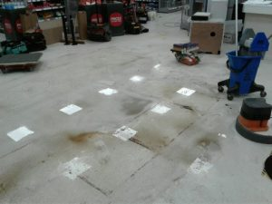 Our team worked to remove the old belt tills and scrub the floor ready for new self-scan tills to be installed.