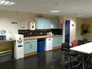 Photos showing the freshly cleaned warehouse, toilets and welfare areas prior to infection control fogging.
