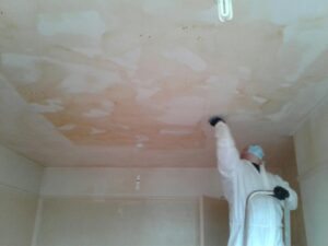 Before, during and after photos showing the removal of nicotine deposits in this residential property