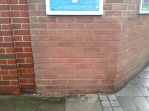 After cleaning all trace of the graffiti is removed, leaving the external surface of the building clean and welcoming