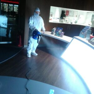 Photos of our deep clean team fogging the Spinnaker Tower