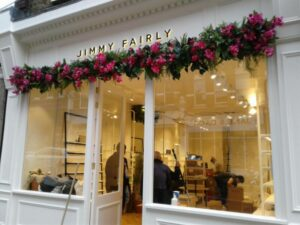 Pictures showing the team cleaning the new Jimmy Fairly store in Hampstead whilst teh builders continue to work.